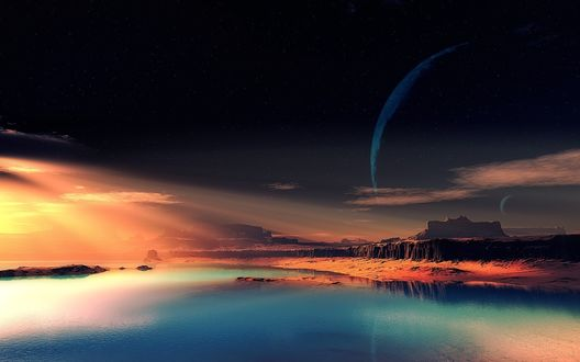 Обои Фантастический пейзаж над синим морем ночью: среди звезд в черном небе виднеются очертания планет