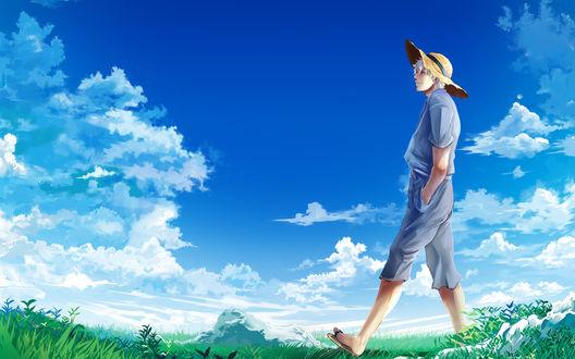Обои Гинтоки Саката из аниме Гинтама / Gintoki Sakata, Gintama идет по зеленой поляне