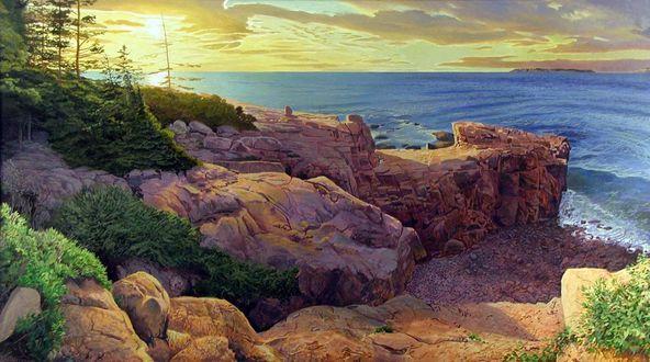 Обои Восход.Творчество Артура Чартова. Солнце поднимается над бескрайним синим морем, омывающим скалы