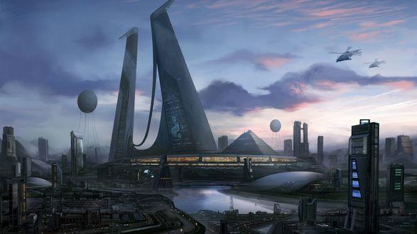 Обои Город будущего с огромными зданиями