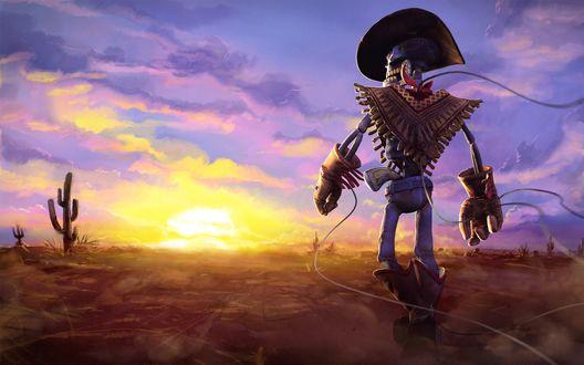 Обои Скелетообразный ковбой-марионетка по имени Ганстрингер из одноименной игры The GunStringer на закате