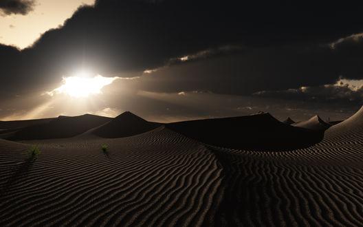 Обои Пустыня за закате, повсюду барханы - следы, оставленные ветром