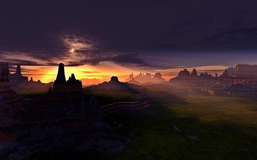 Обои Скалистая долина освещена лучами солнца, которое вот-вот закроют черные тучи