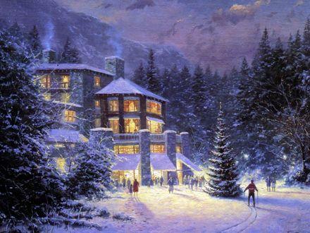 Обои Красивая новогодняя ёлка у дома, художник Thomas Kinkade / Томас Кинкейд