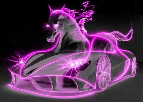 Обои Модель авто в соединении с лошадью в неоновых розовых лучах