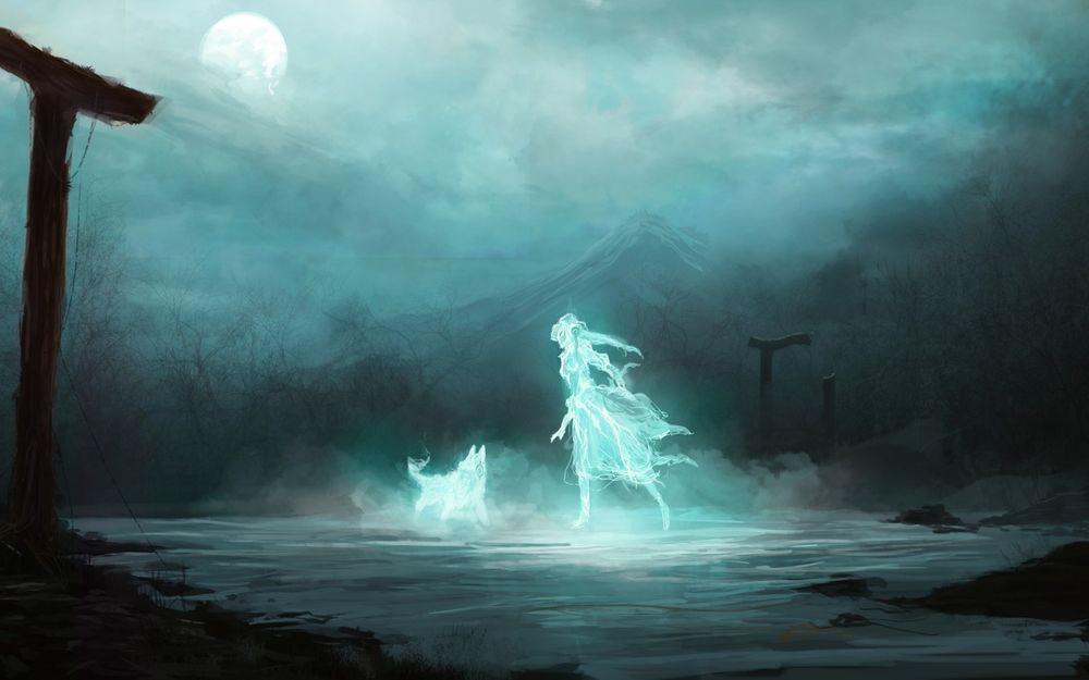 Обои для рабочего стола Призрак девушки и собаки в полнолуние гуляет по безлюдному пустырю
