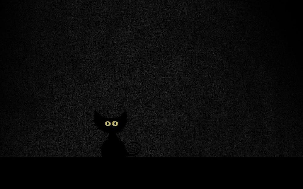 Обои для рабочего стола Черная нарисованная кошка на черном фоне