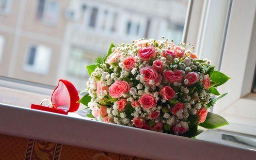 Обои Букет роз с обручальными кольцами