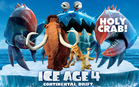 Обои Мультфильм Ice age 4 / Ледниковый период 4, Главные герои плывут на льдине, за их спинами притаился гигантский краб (Континентальный дрифт / Continental Drift, Holy Crab!)
