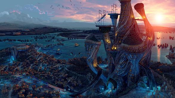 Обои Закат в фантастическом городе на берегу реки