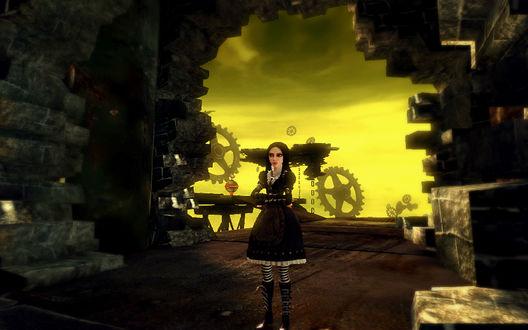 Обои Alice / Алиса из игры Алиса: Безумие Возвращается / Alice: Madness Returns в платье стимпанк