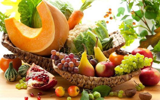 Обои Натюрморт, состоящий из овощей и фруктов богатого урожая