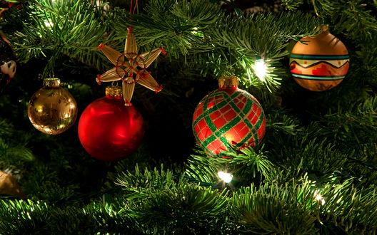 Обои Шары и украшения на новогодней ёлке
