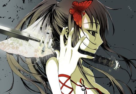 Обои Девушка с мечом в руке и бабочкой в волосах