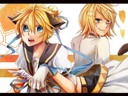 Обои Vocaloid Kagamine Len / Вокалоиды Кагамине Лен с кошачьими ушками и Кагамине Рин / Kagamine Rin