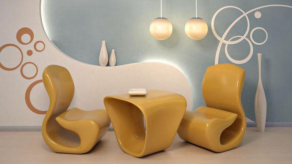 Обои Необычный стиль светлой гостиной: причудливые кресла и столик