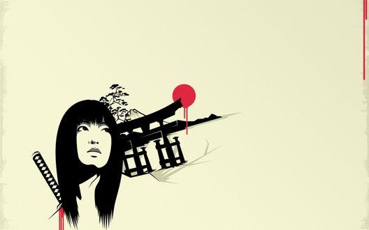 Обои Девушка с самурайским мечем за спиной на фоне беседки
