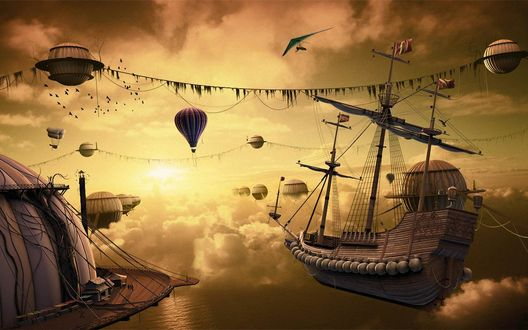 Обои Воздушные шары, дирижабли и корабли в закатных облаках (арт Никиты Веприкова)