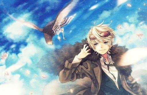 Обои Мальчик смотрит на улетающего сокола на фоне неба, арт мангаки Mizuguchi