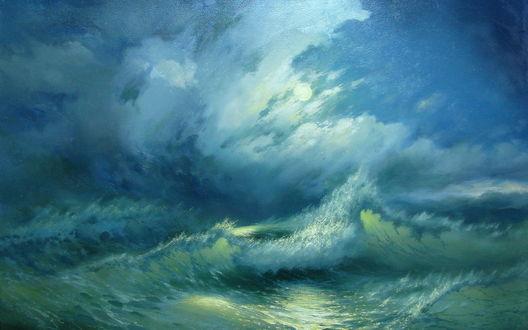Обои Луна за густыми облаками над морскими волнами ночью, автор Милюков Александр