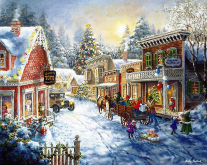 Обои Картина с изображением городка на Новый Год и его жителей, обменивающихся подарками американской художницы Ники Боэм / Nicky Boehme