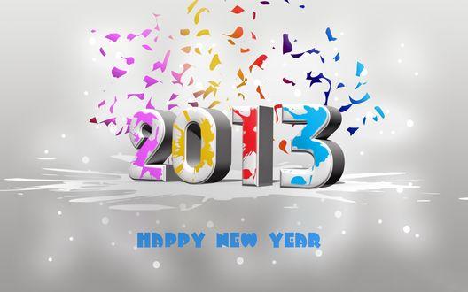 Обои Цифры Нового 2013 года разукрашены разноцветными красками, внизу надпись 'Happy New Year' (Счастливого Нового года)