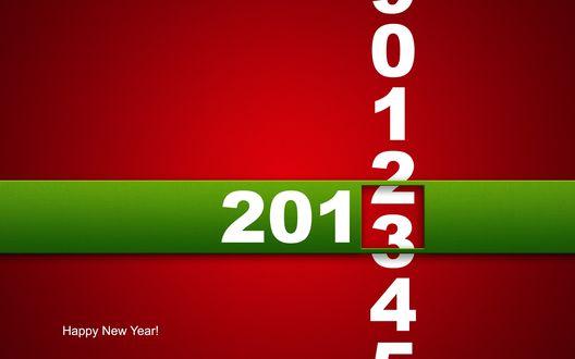Обои Цифры Старого 2012 года сменяются на цифры Нового 2013 года, внизу надпись 'Happy New Year!' (Счастливого Нового Года!)