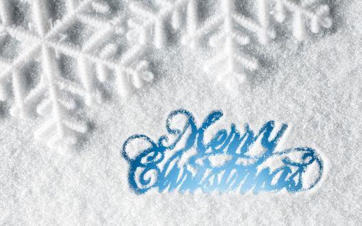 Обои Надпись Merry Christmas / Счастливого рождества на снегу