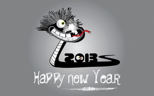 Обои Цифры Нового 2013 года на карикатурной змее, внизу рисунка надпись 'Happy New Year' (Счастливого Нового Года)