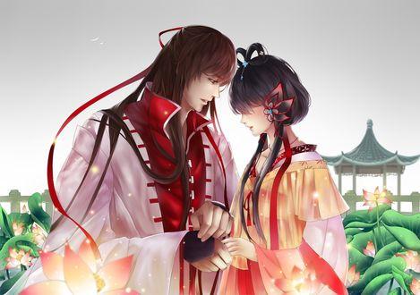 Обои Вокалоид Дуо Тиануи / Vocaloid Luo Tianyi и Вокалоид Язенг Линг / Vocaloid Yuezheng Ling в китайских нарядах среди цветущих лотосов