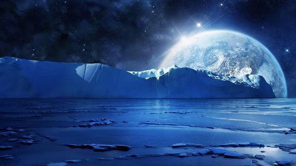 Обои Поверхность ледяной планеты на фоне соседствующей с ней планеты и космического пространства