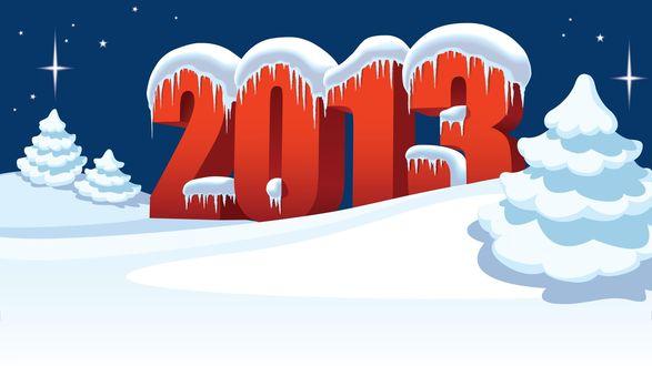 Обои Новый 2013 год, Цифры 2013 стоят в снегу рядом с ёлками