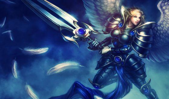 Обои Кауль / Kayle из игры Лига Легенд / League of  Legends с крыльями и мечом в руках