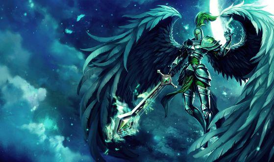 Обои Кауль /Kayle из игры Лига Легенд / League of  Legends парящая в небе, в броне и мечом в руках