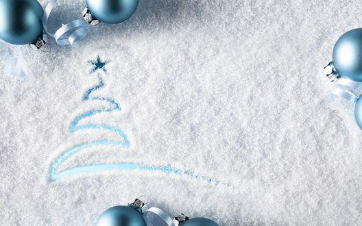 Обои Ёлочка, нарисованная на стекле, запорошенном снегом, с голубой подсветкой и голубые шарики