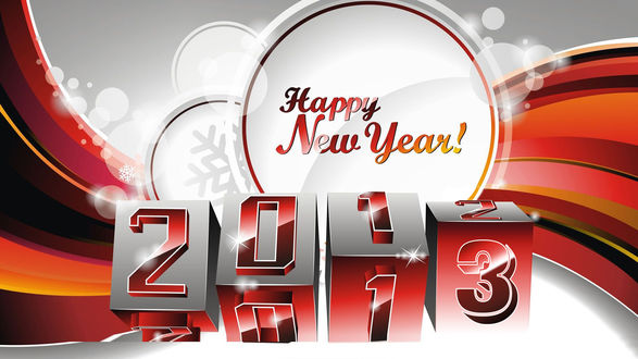 Обои 2013 написано на переворачивающихся кубиках (Happy New Year / Счастливого Нового Года)