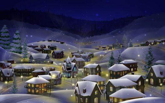 Обои Городок в горах, в домах теплым светом горят окна