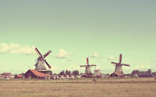 Обои Деревня с мельницами в Голландии / Holland