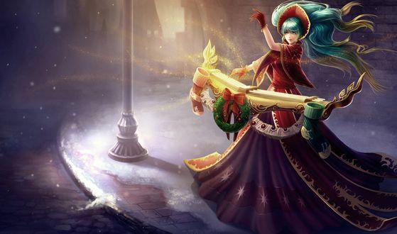 Обои Сона / Sona из игры Лига Легенд / League of Legends на заснеженной улице играет на своём музыкальном инструменте