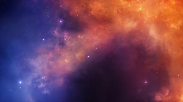 Обои Огненно рыжая космическая туманность