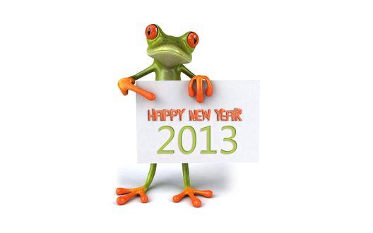 Обои Лягушонок с табличкой Happy new year 2013