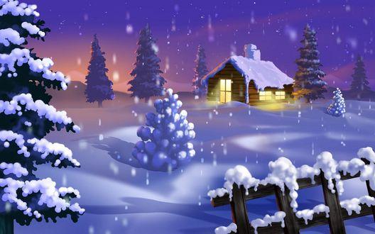 Обои Снежная ночь, в одиноком домике теплым светом горят окна