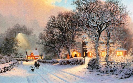 Обои Зимнее утро в небольшом поселке, отец с сыном, с санками и бегущей рядом собакой, идут по заснеженной дороге