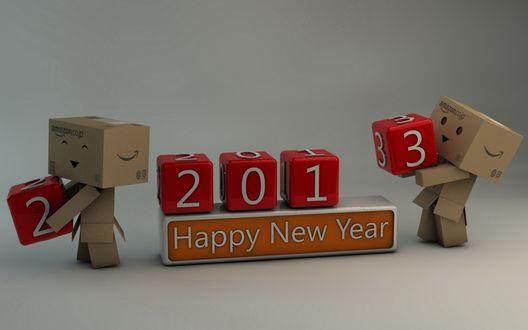 Обои Коробочки Данбо ставят кубики с цифрами (Новый 2013 год / Happy New Year 2013)