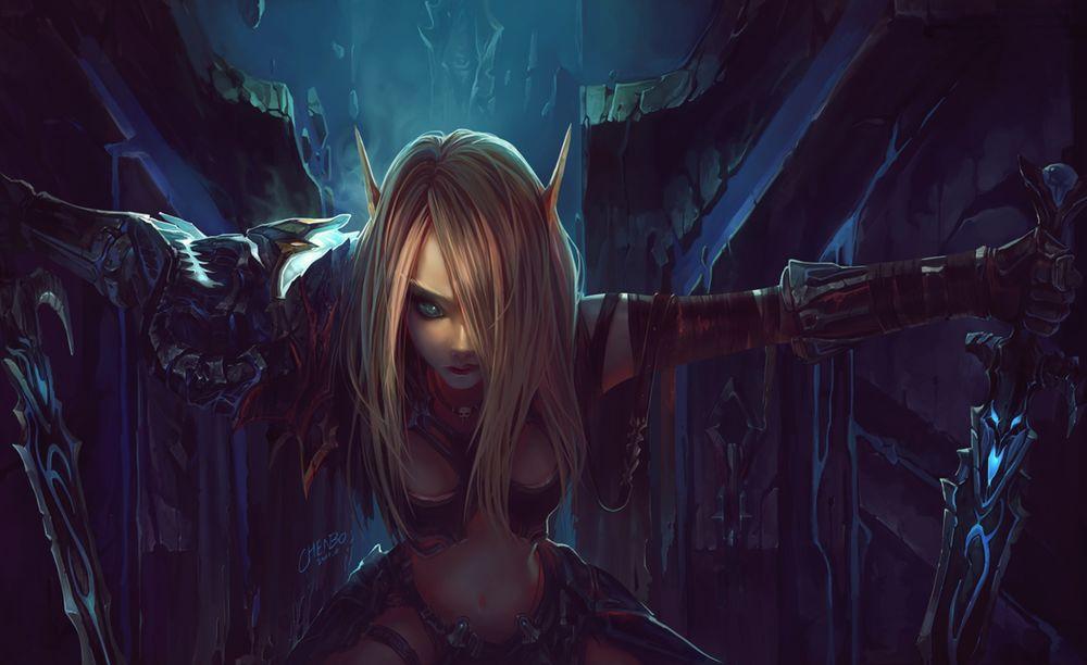 Обои для рабочего стола Эльфийка из игры World of  Warcraft с мечами в руках