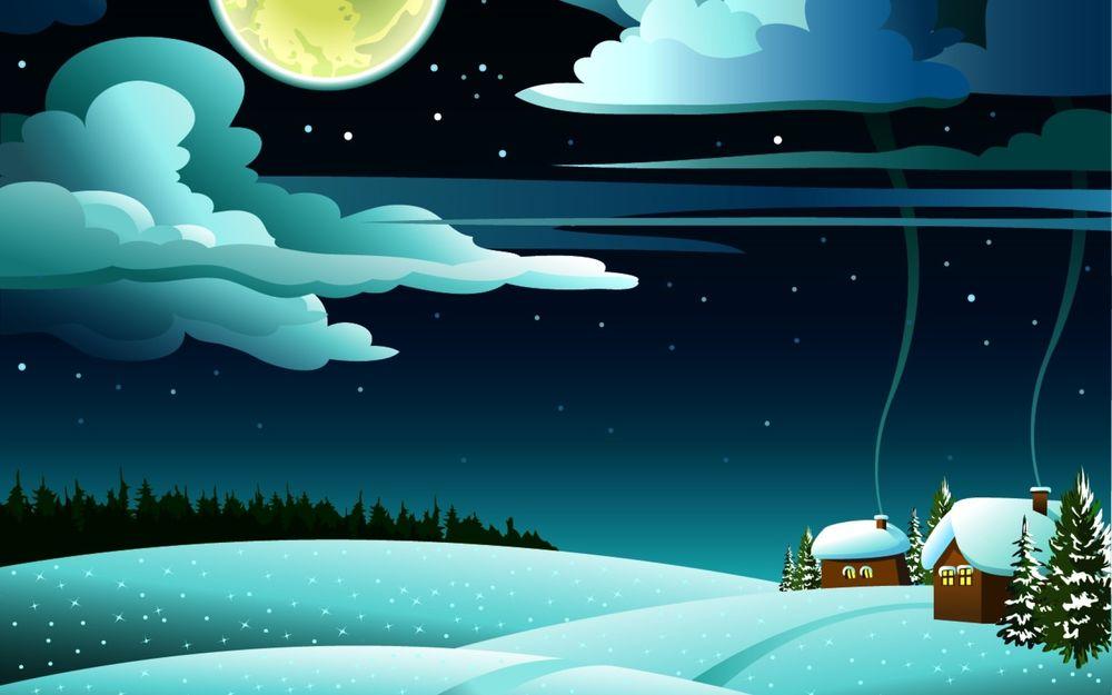 Обои для рабочего стола Маленький поселок на заснеженных холмах под луной