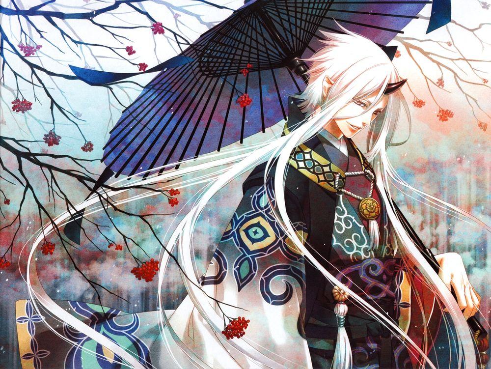 Парни аниме с длинными белыми волосами