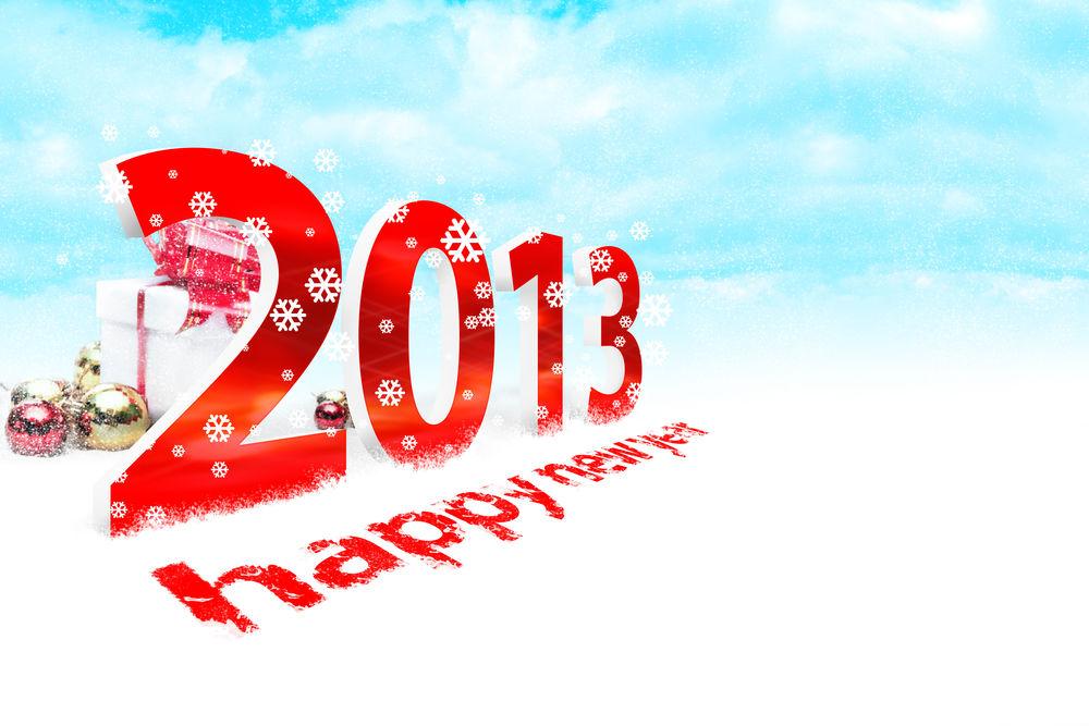 Обои для рабочего стола Огромная надпись в снегу 2013 Happy New Year / Счастливого Нового Года