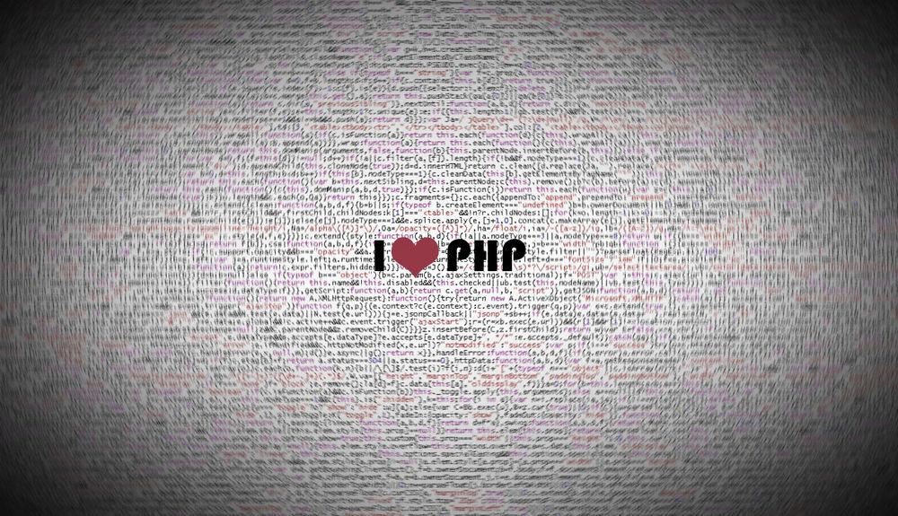Обои для рабочего стола Исходный код сайта написанного на языке PHP. Надпись в центре I ♥ PHP (Я люблю PHP)