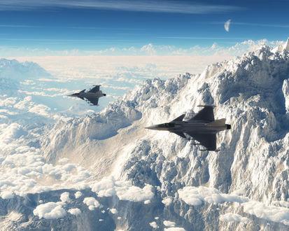 Обои Два военных самолета летят на фоне облаков,луны, и заснеженных горных вершин